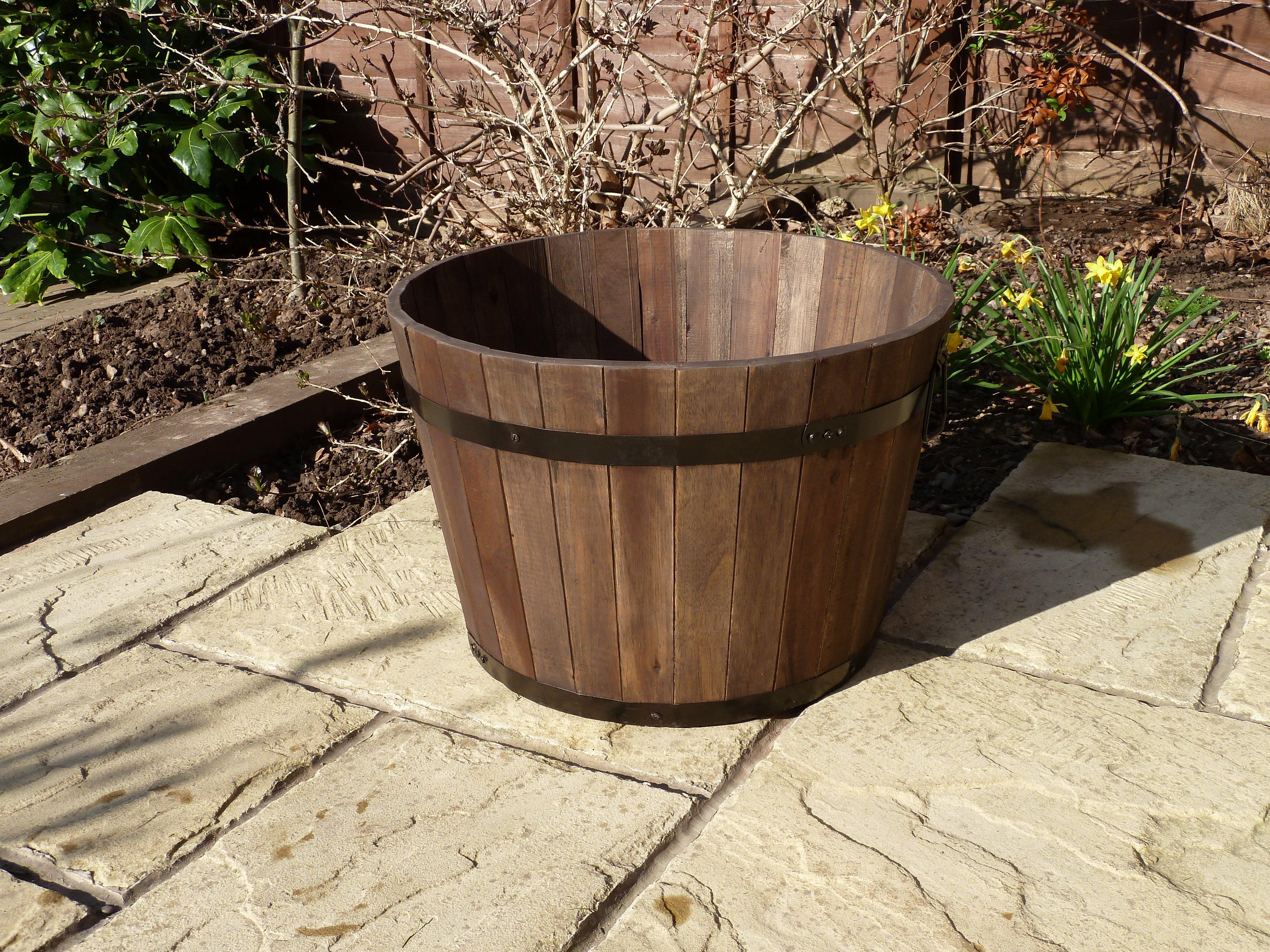 Premium Wine Barrel Planter Large Simply Wood