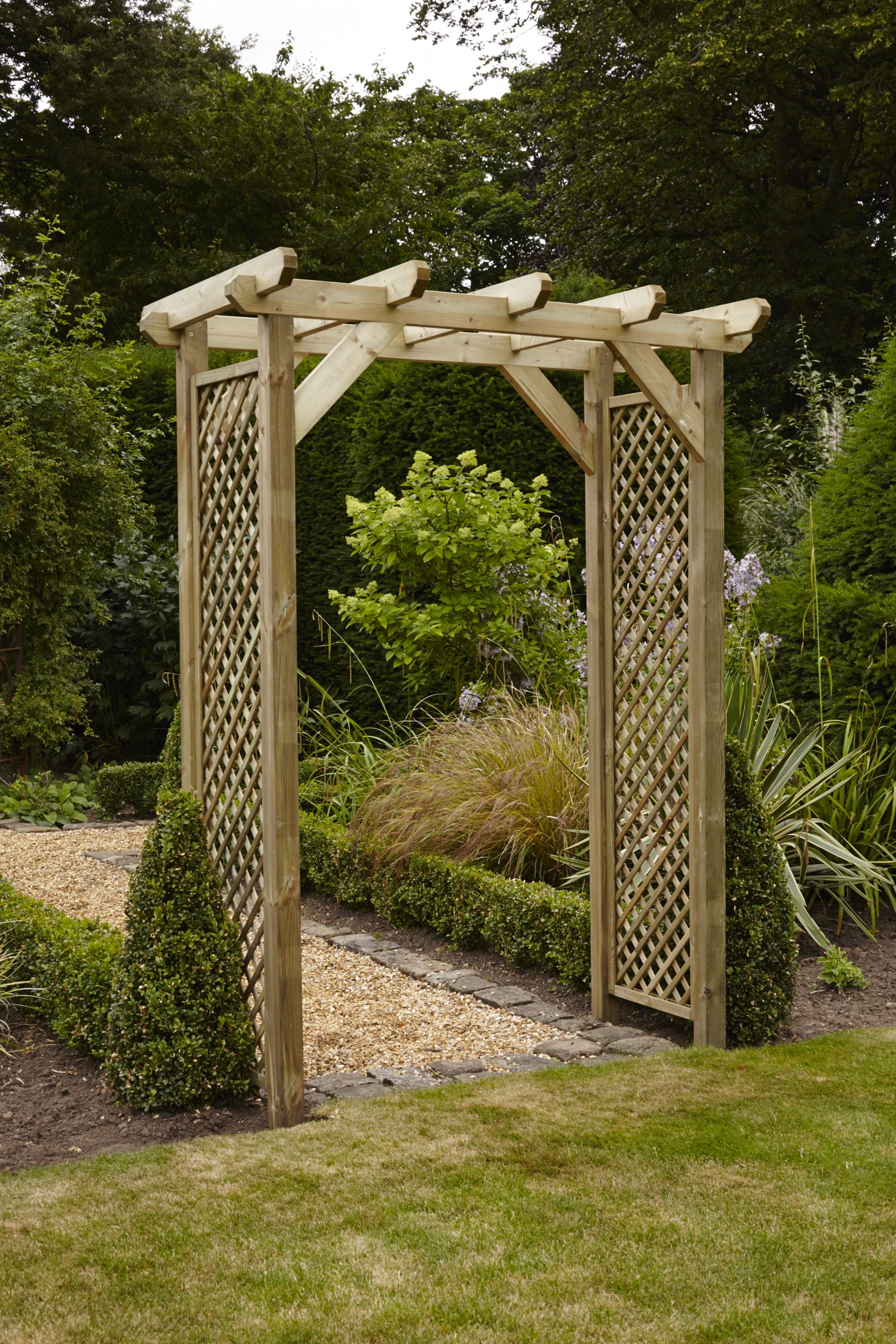 Anchor fast squared lattice arch simply wood for Garden arches designs